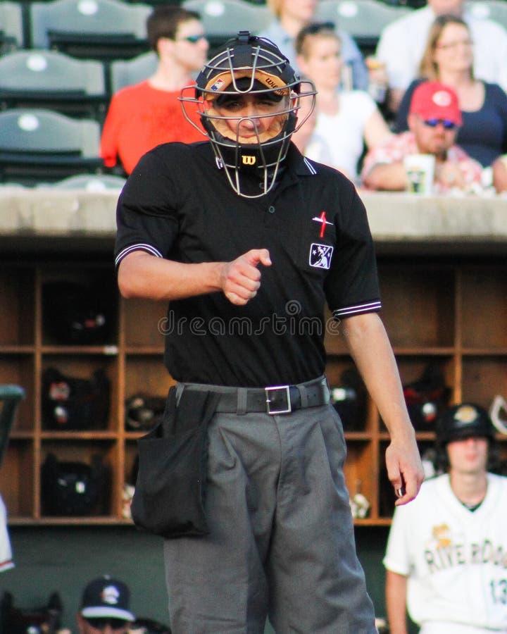 Home plate umpire Reid Joyner stock photography