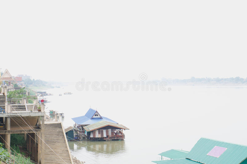 Home port in Mekong river between Thailand and Laos. Home port in Mekong river at border between Thailand and Laos royalty free stock photo