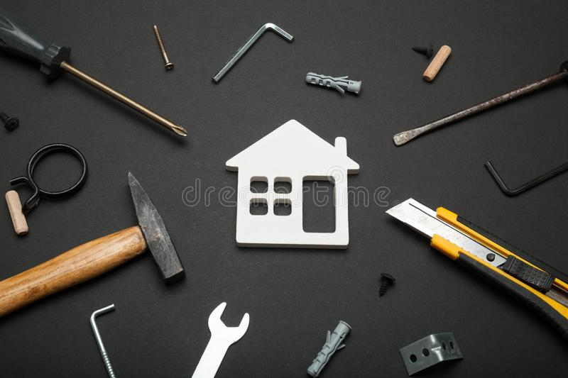Home property repair, renovation success. Finance family household stock images