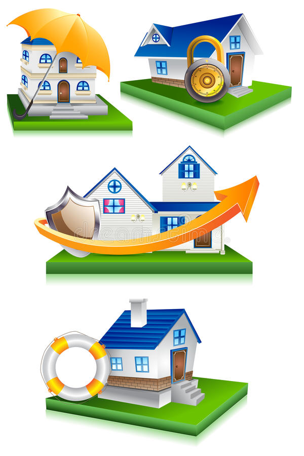 Home Protection. Vector illustration of collection of home protection design royalty free illustration