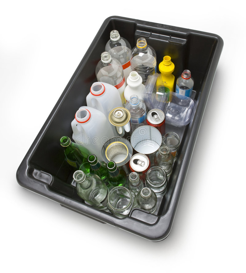 Recycle Recycling Reuse Sustainability. A black bin full of glass, plastic and metal recycling stock images