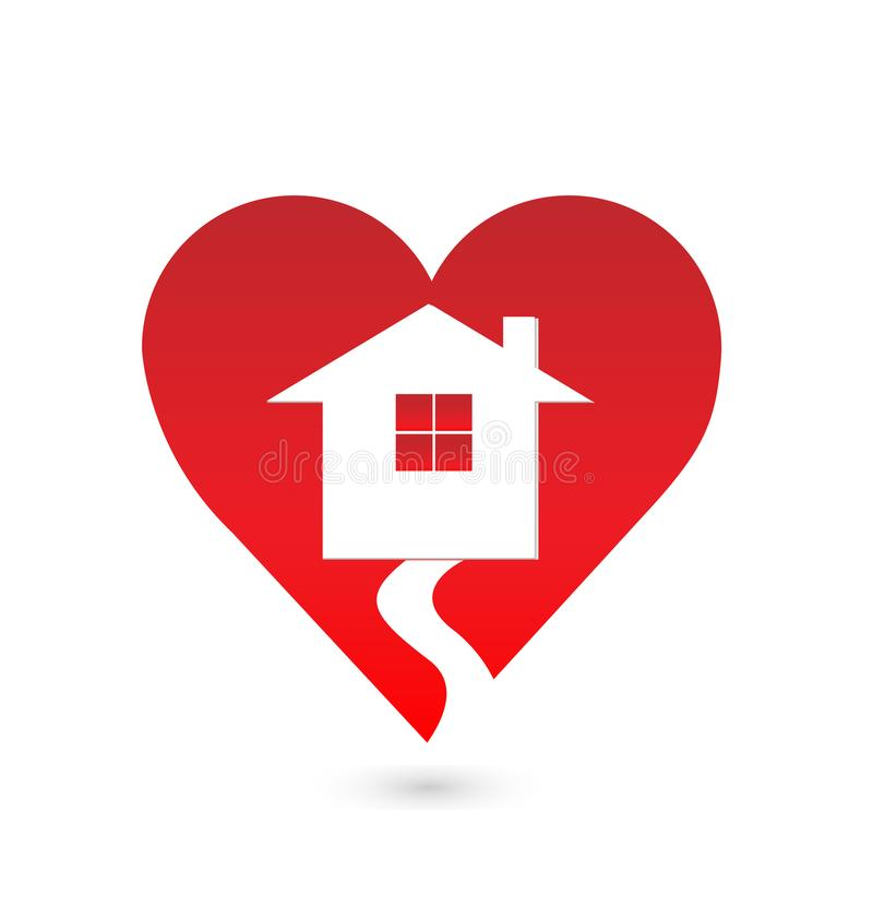 Home within a red heart, vector logo royalty free illustration