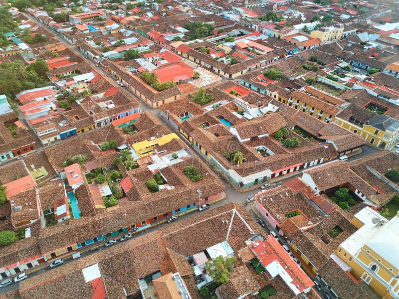 Home red tile roofs. With streets aerial drone view royalty free stock images
