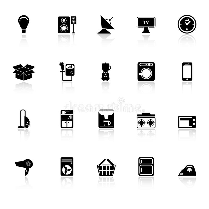 Home Related Icons With Reflect On White Backgroun Stock Photography