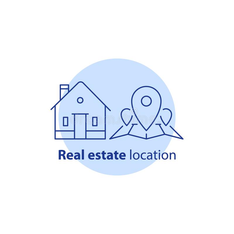 Home relocation, residential district location, map pinpoint, real estate services, neighborhood concept, vector icon royalty free illustration