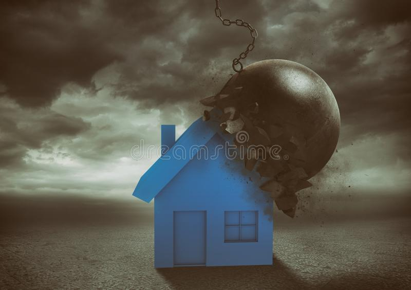House resists the impact with a demolition ball. Concept of strength and indestructibility. Home remains intact after impact with the wrecking ball vector illustration