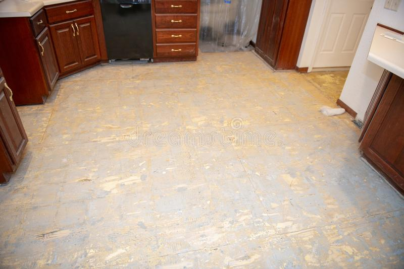 Home Remodeling, Kitchen Floor, Flooring. Home kitchen remodeling construction project. A house is getting a new floor. Plywood install is a subfloor. Sub floors royalty free stock image