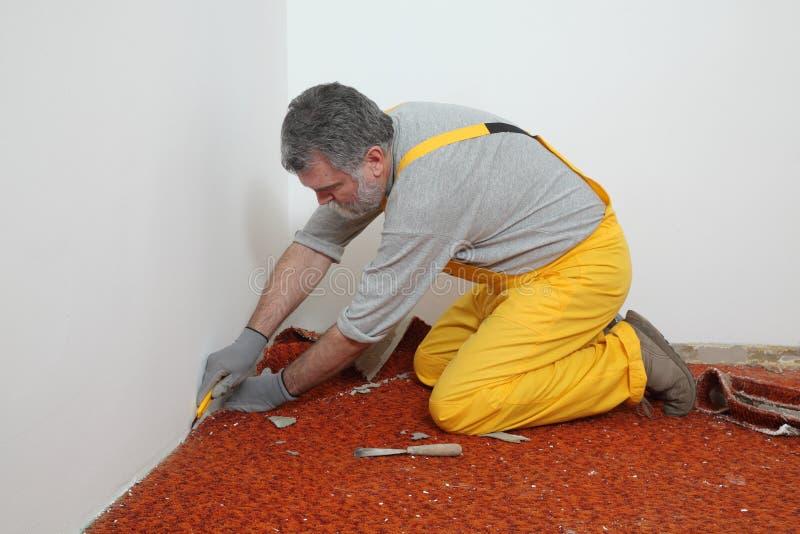 Home renovation, carpet remove stock images