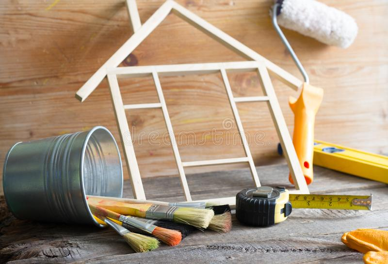 Home renovation construction abstract background with tools on wooden boards diy still life stock images
