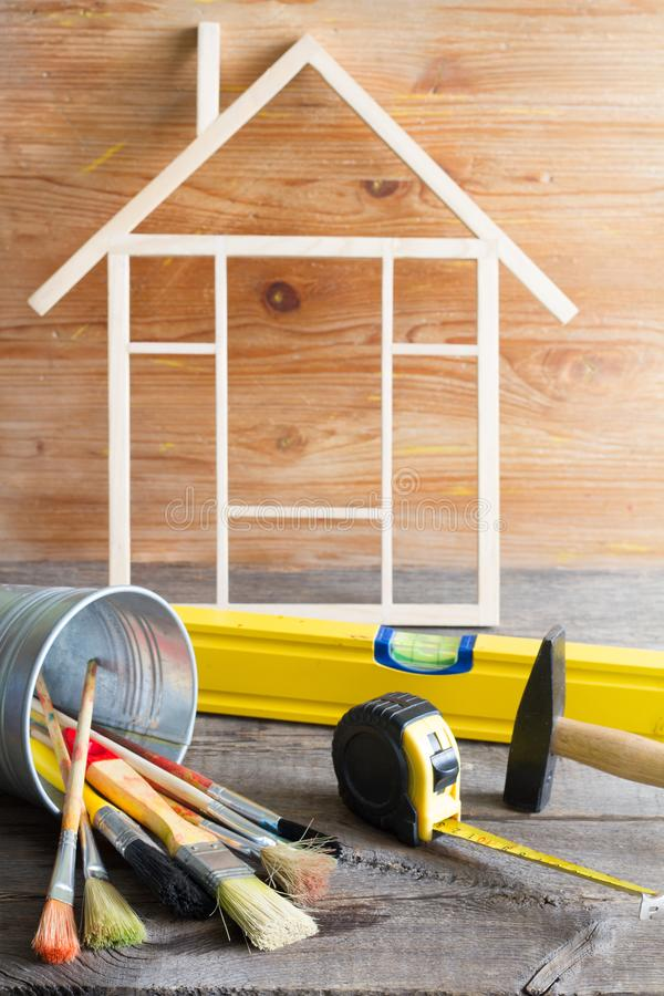 Home renovation construction abstract background with tools on wooden boards diy still life royalty free stock image