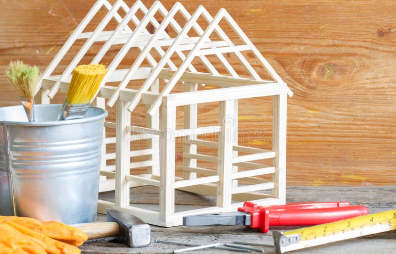 Home renovation construction diy abstract background with tools on wooden board stock photo