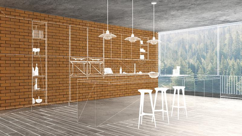 Home renovation, house development concept background, interior design under construction, custom architecture design project, stock illustration