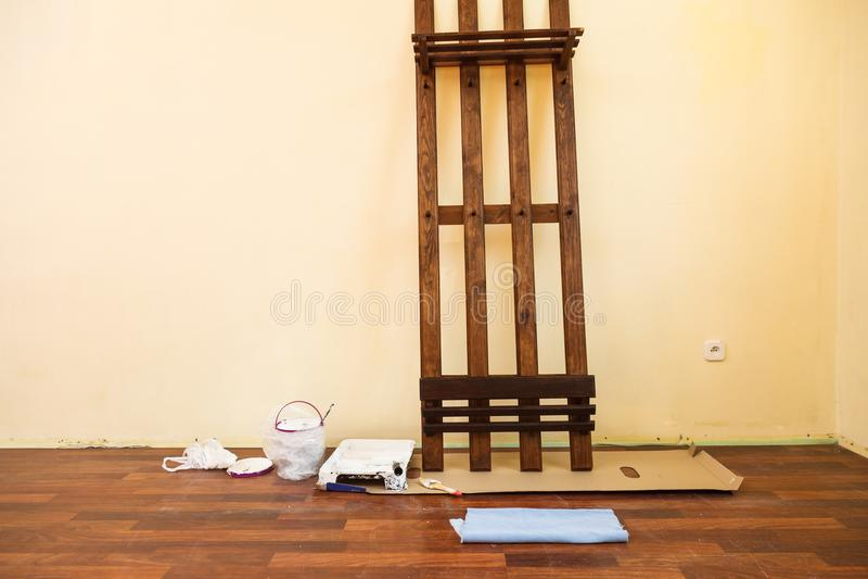 Home renovation mess stock photography