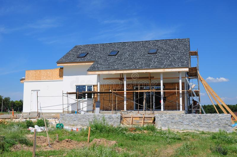 Home Renovation, Remodeling, Insulation and Repair Outdoor. Renovating a House. stock photo