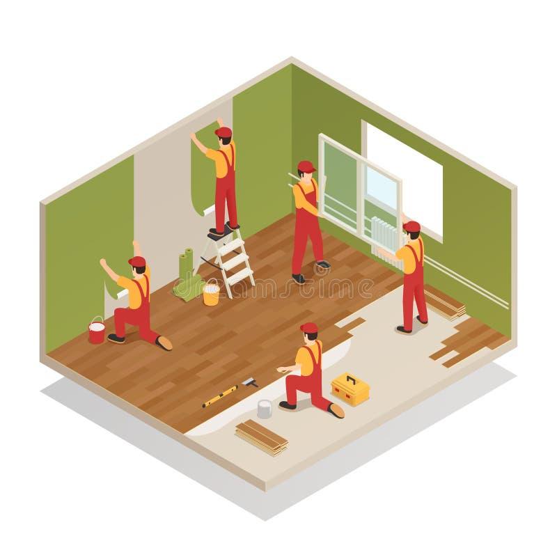 Home Renovation Isometric Composition stock illustration