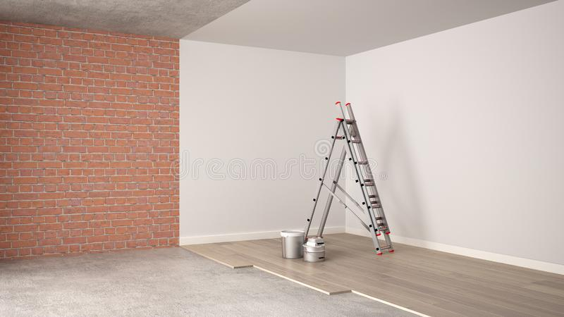 Home renovation, restructuring process, repair and wall painting, construction concept. Brick and painted walls, parquet floor, stock illustration