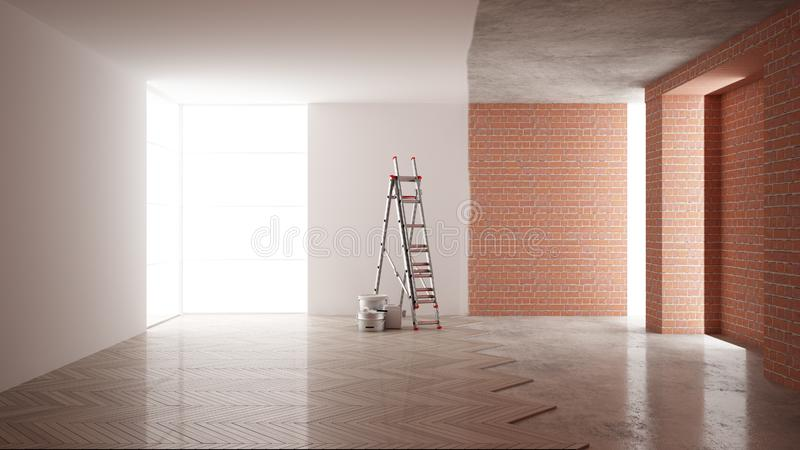 Home renovation, restructuring process, repair and wall painting, construction concept. Brick and painted walls, parquet floor,. Walls laying and covering stock illustration