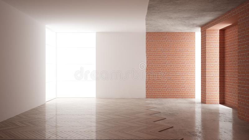 Home renovation, restructuring process, repair and wall painting, construction concept. Brick and painted walls, parquet floor, vector illustration