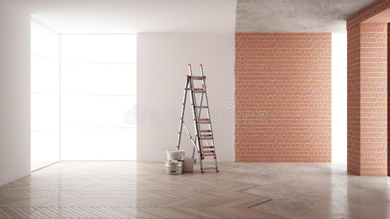 Home renovation, restructuring process, repair and wall painting, construction concept. Brick and painted walls, parquet floor, royalty free illustration
