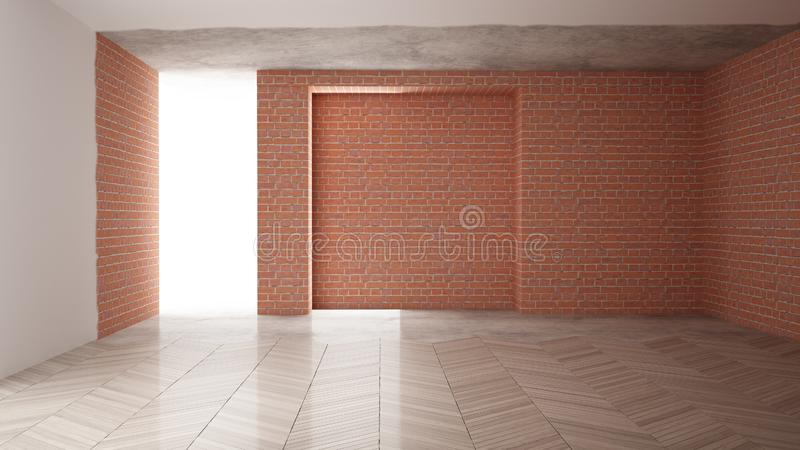 Home renovation, restructuring process, repair and wall painting, construction concept. Brick and painted walls, parquet floor,. Walls laying and covering vector illustration