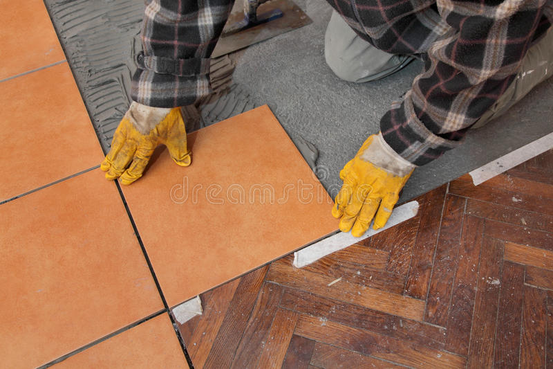 Home renovation, tiles stock photography