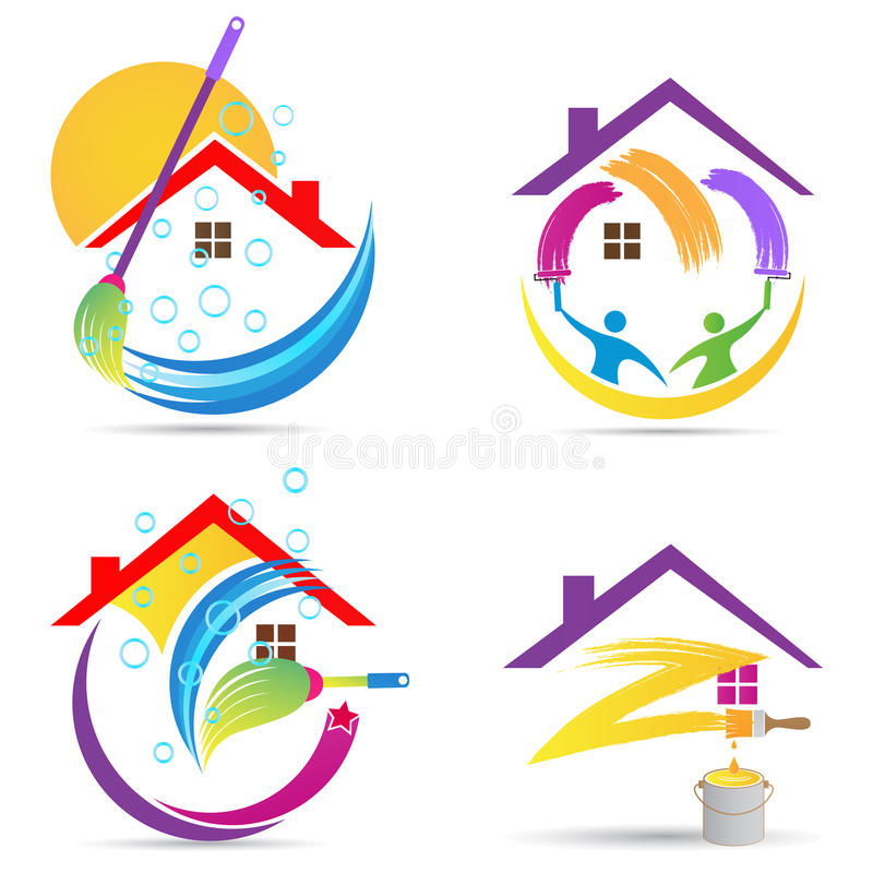 Home cleaning service logo house renovation painting maintenance improvement vector symbol icon design. royalty free illustration