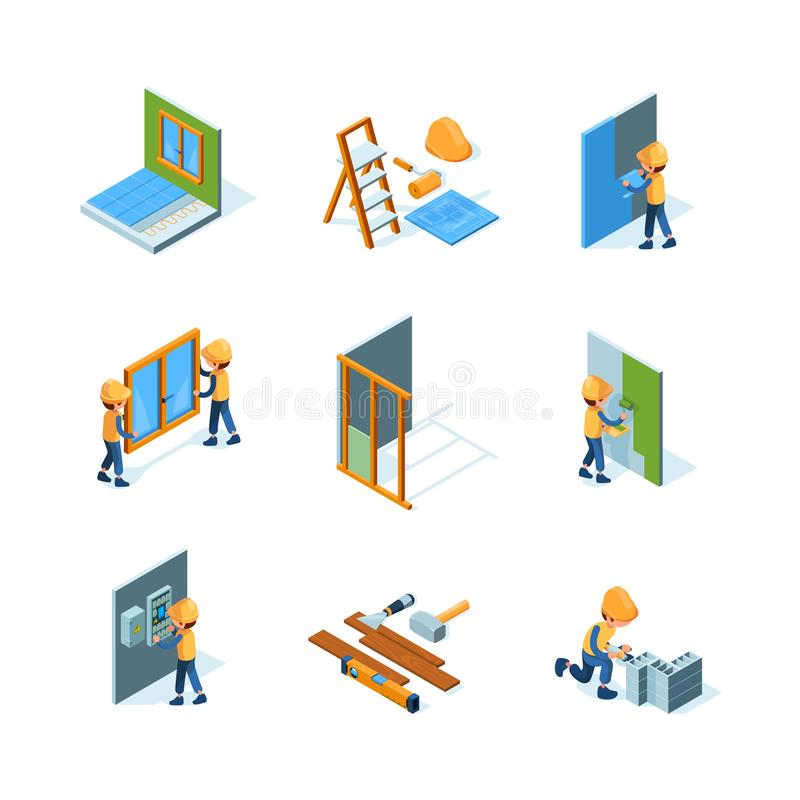 Home renovation. Worker installation new floor and walls painting flooring construct instruments vector isometric. Illustrations. Renovation and repair indoor stock illustration