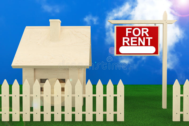 Home For Rent. Sign with Beautiful Wooden House vector illustration