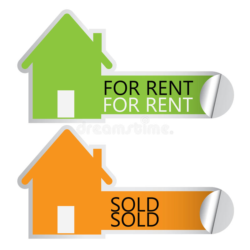 Home for rent stickers royalty free illustration