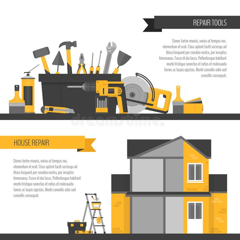 Home repair banner. Construction tools. Hand tools for home reno. Vation and construction. Flat style, vector illustration stock illustration