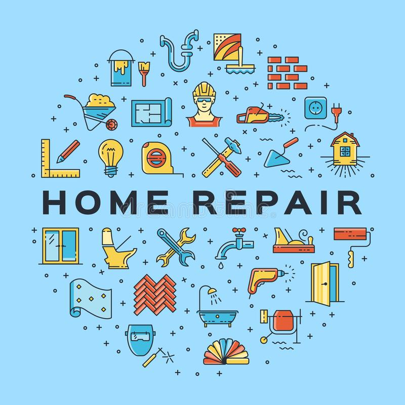 Home Repair circle infographics Construction icon. House remodel thin line art icons. Vector. Flat illustration royalty free illustration
