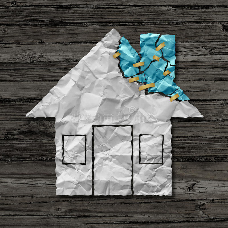 Home Repair Concept. And house improvement symbol as crumpled paper shaped as a residential structure with torn pieces as an icon for renovations and stock illustration