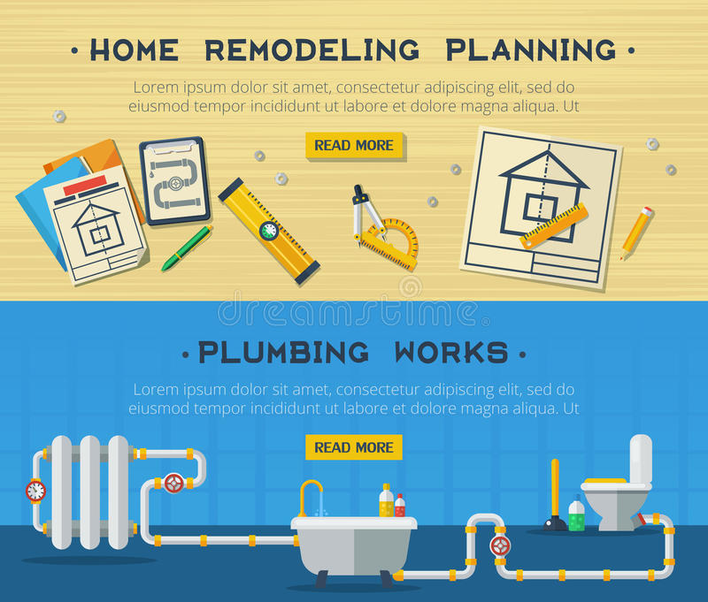 Home repair 2 flat banners set stock vector illustration for Plumbing remodeling