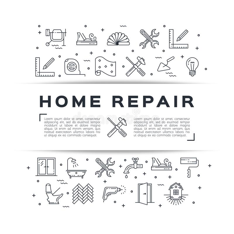 Home repair flyer Construction poster. House remodel thin line art icons. Vector. Home repair flyer Construction poster. House remodel thin line art icons stock illustration