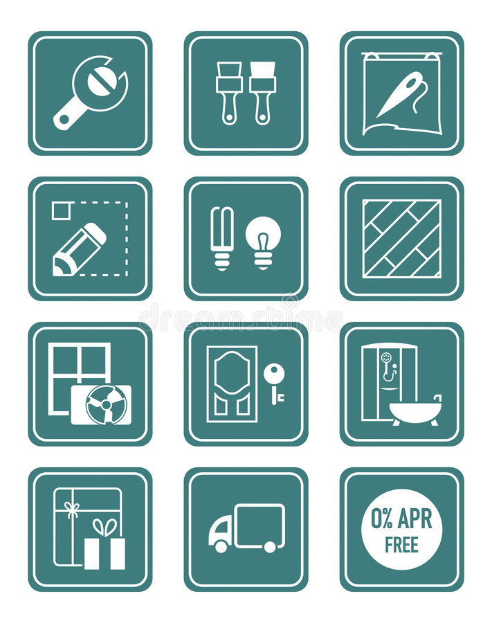 Home repair icons   TEAL series royalty free illustration