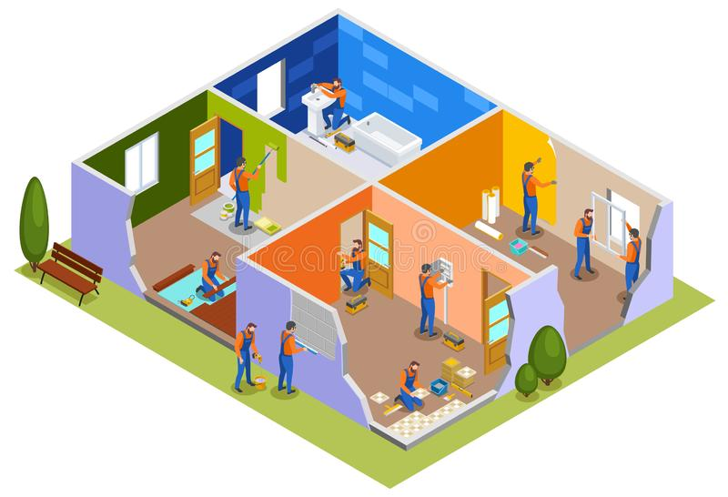 Home Repair Isometric Composition. With workers in apartment interior involved in painting walls laying tiles doors installation plumbing work vector vector illustration