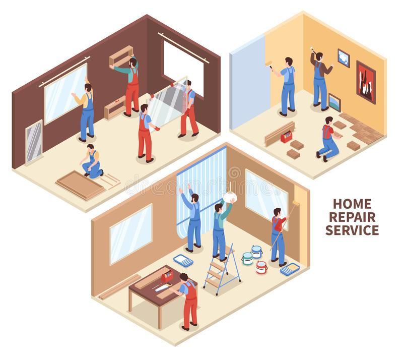 Home Repair Isometric Compositions. With painting of walls, parquet works, carpentry, windows installation isolated vector illustration royalty free illustration