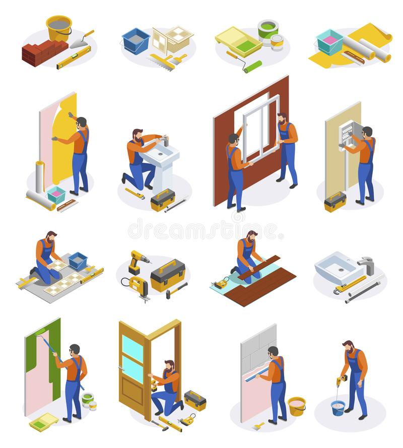 Home Repair Isometric Icons Set. Of tools and craftspeople performing  laying tiles pasting wallpapers doors and window installation isolated vector vector illustration
