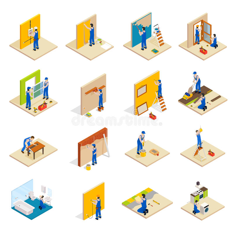 Home repair isometric set. With workers doing maintenance isolated vector illustration royalty free illustration