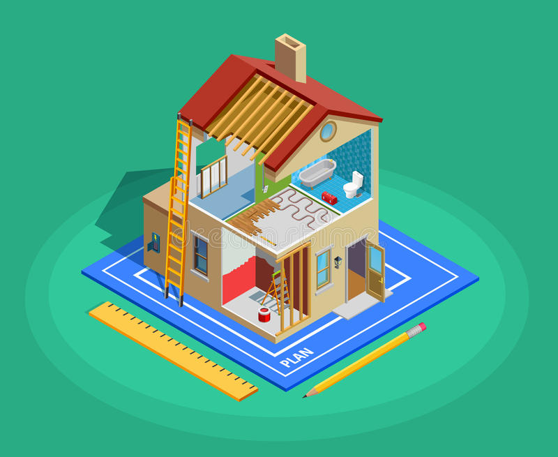 Home Repair Isometric Template. With building and different maintenance works on green background isolated vector illustration royalty free illustration