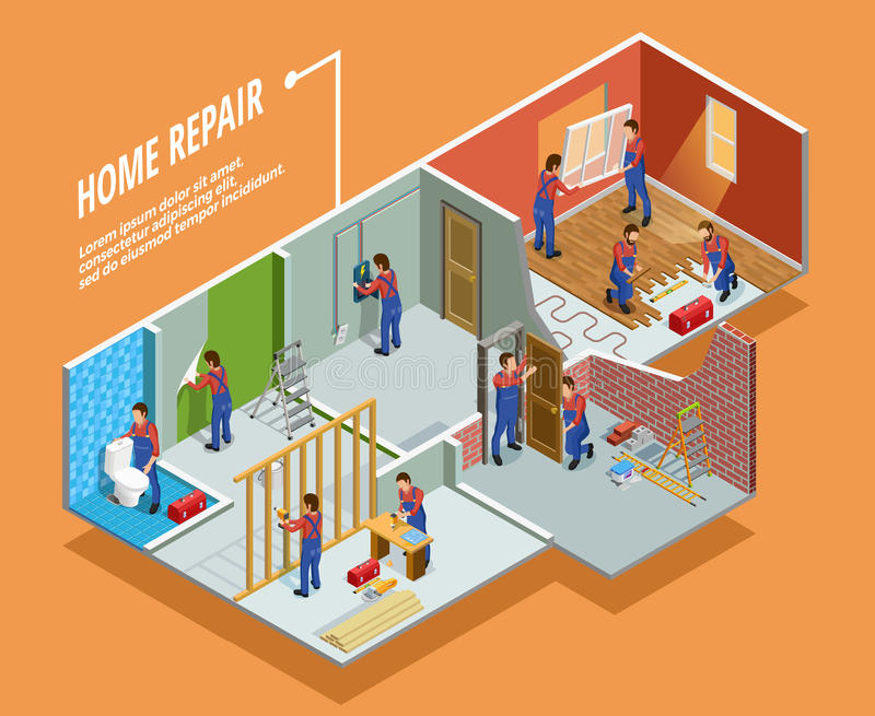 Home Repair Isometric Template. With painting carpentry installation of toilet door and window vector illustration stock illustration