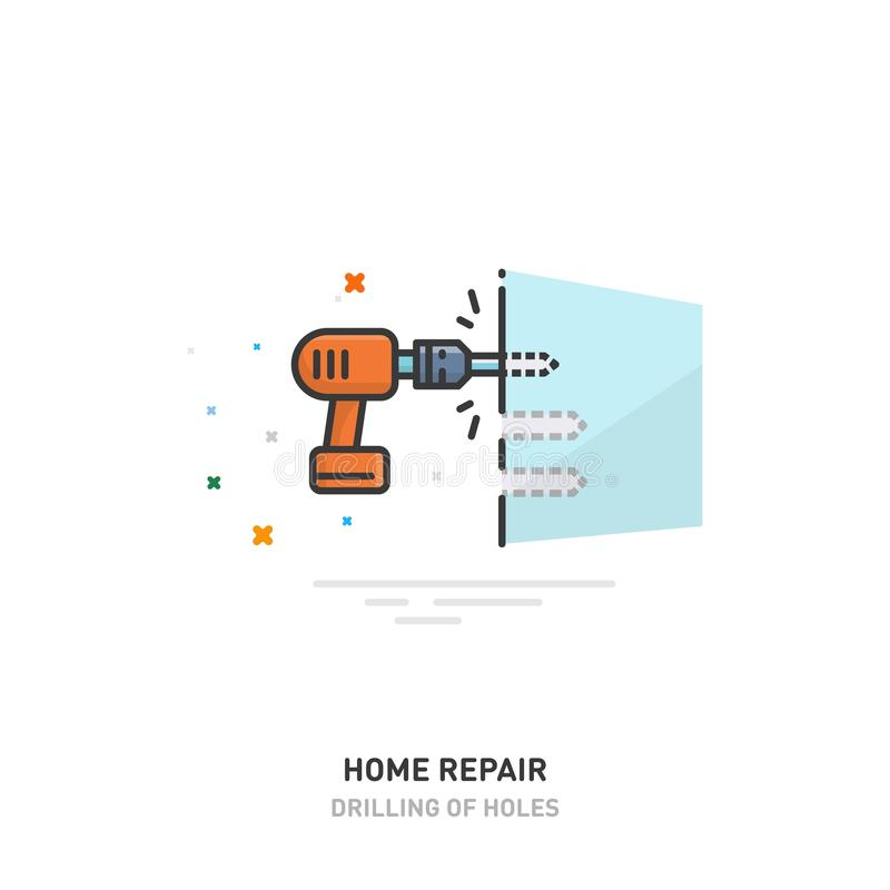 Home repair logo. Drilling holes in the wall. Drill and screwdriver. Line design. Vector illustration. Home repair logo. Drilling holes in the wall. Drill and royalty free illustration