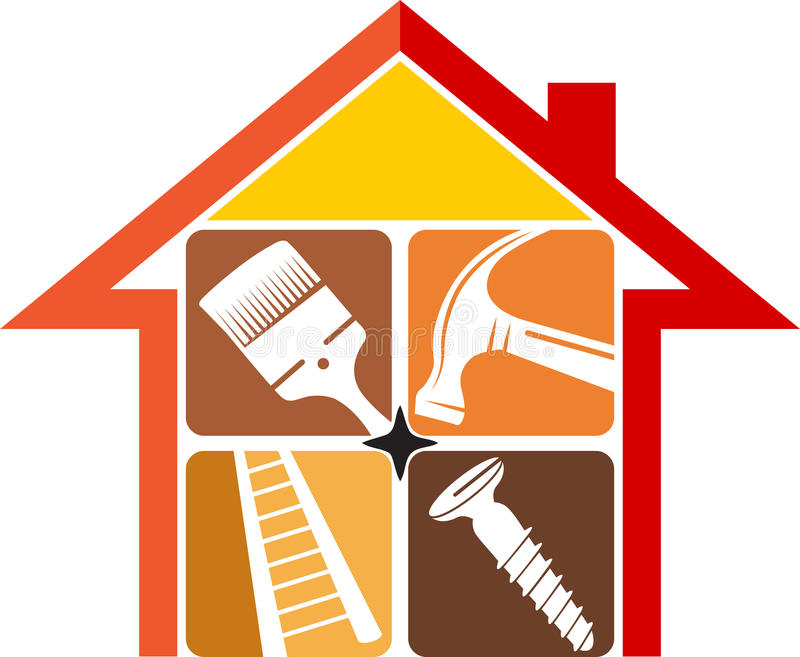 Home repair logo. Illustration art of a home repair logo with isolated background royalty free illustration