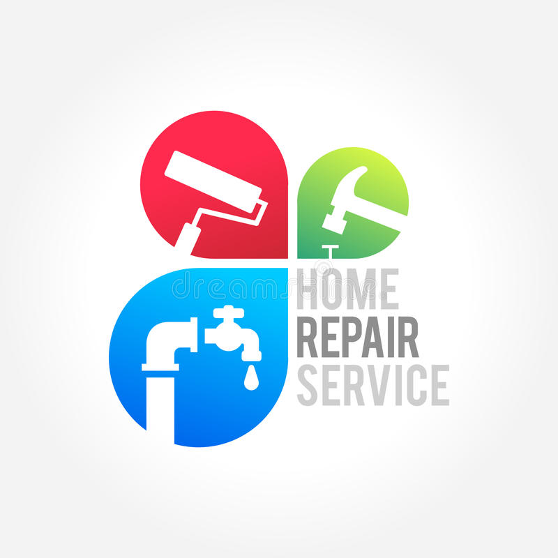 Home repair, Maintenance and symbol of a house. A great symbol for your Construction Home Repair business royalty free illustration