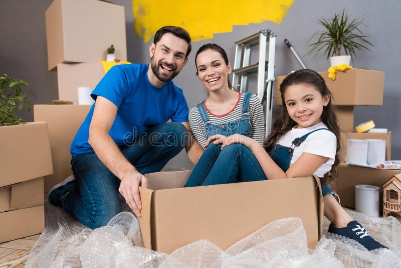 Home repair. Moving young family to new apartment. Repair in house for sale. royalty free stock photos