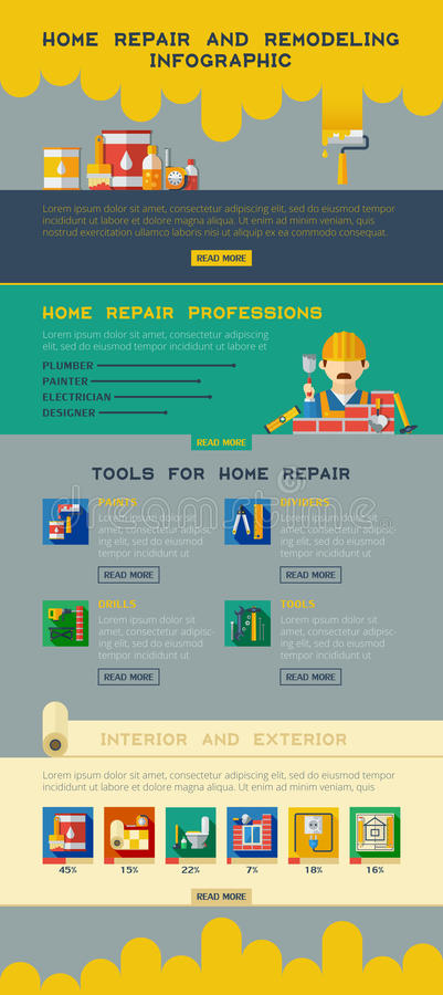 Home Repair Remodeling Renovation Service Infographics stock illustration