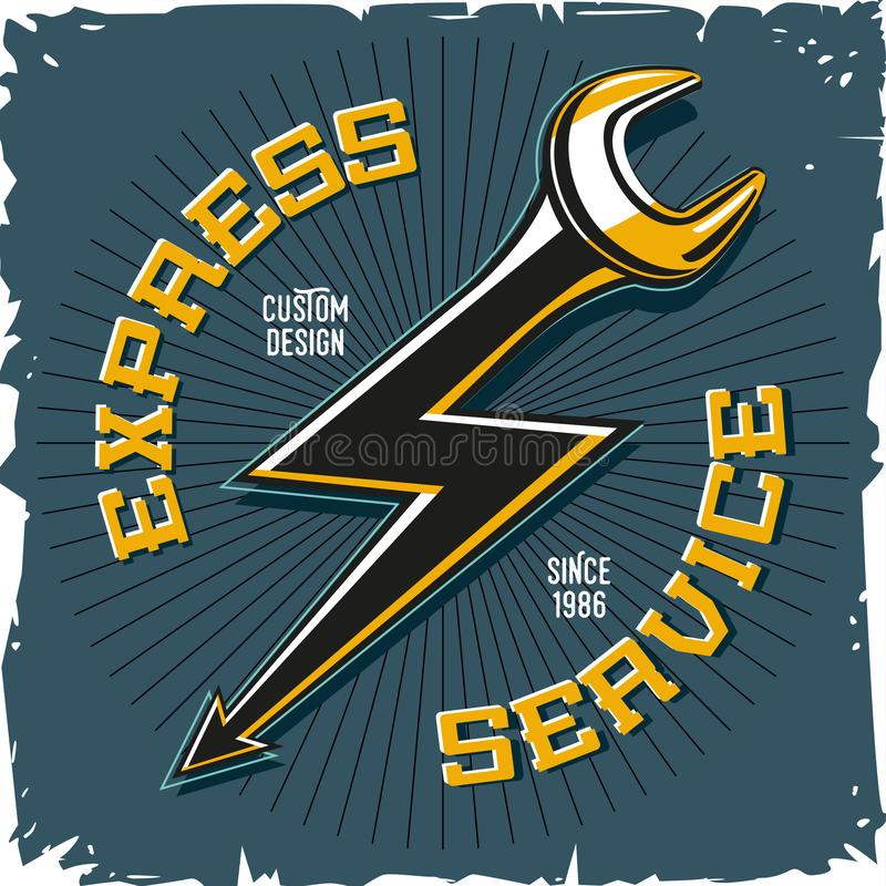 Home repair service. Work shop vector emblem with tool and lightning. Auto mechanic key. Home repair service. Work shop vector emblem with tool and lightning vector illustration