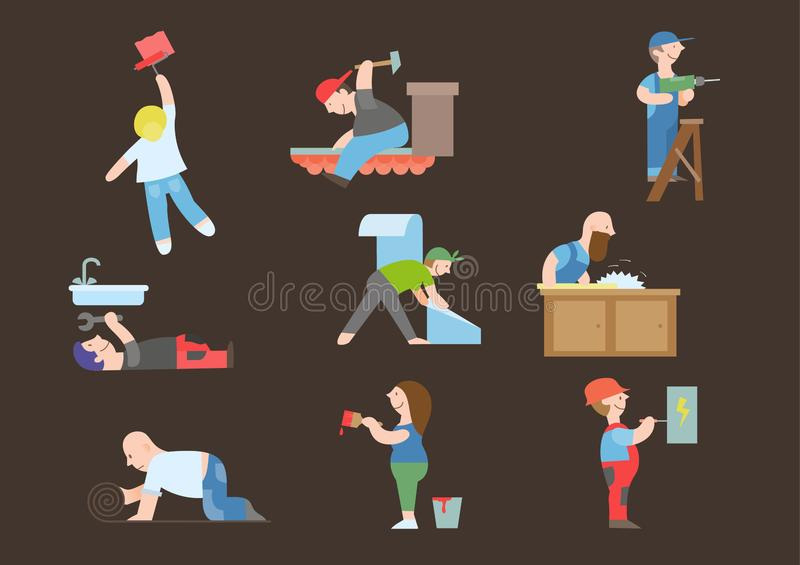 Home repair tiny people vector cartoon illustration stock illustration