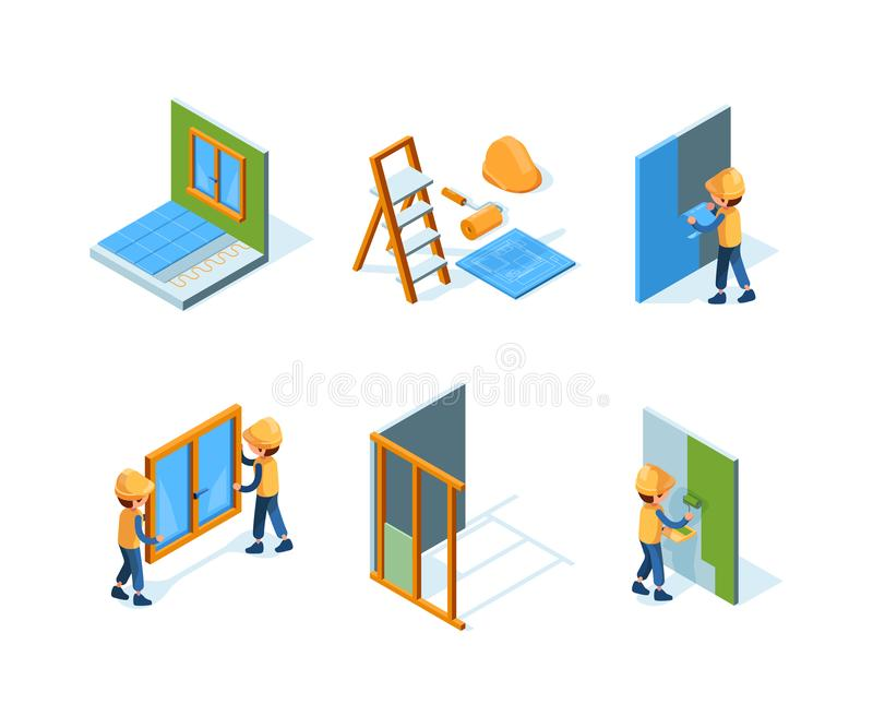 Home repair. Wall installation equipment paint workers building constructions renovation house vector isometric. Worker repair wall or paint illustration stock illustration