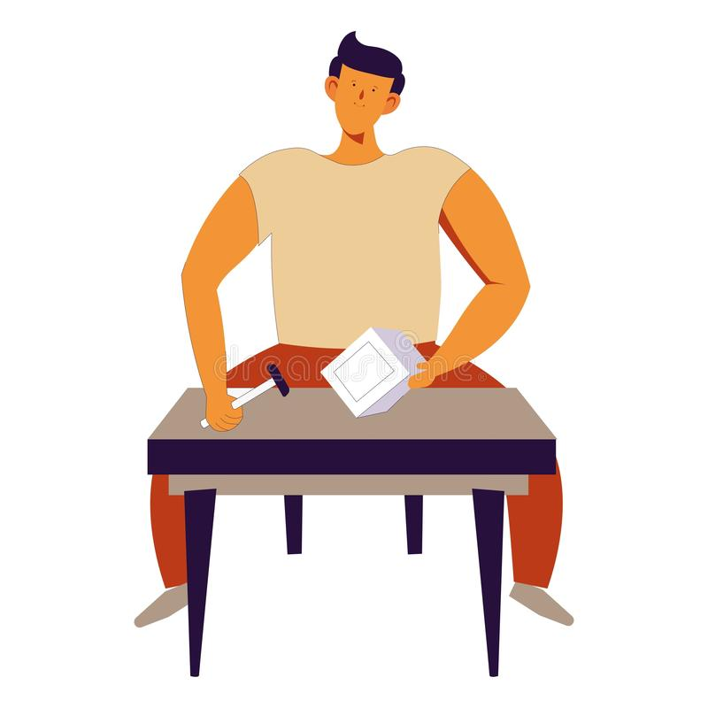 Home repairing man sitting by table working with tools. Vector handyman with instrument hammer and wooden material professional carpenter worker with experience royalty free illustration